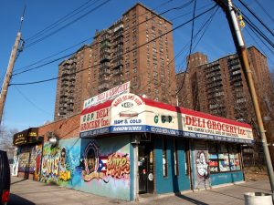 Soundview Apartment Buildings and Deli Grocery Store, Bronx, New York City. credit: jag9889