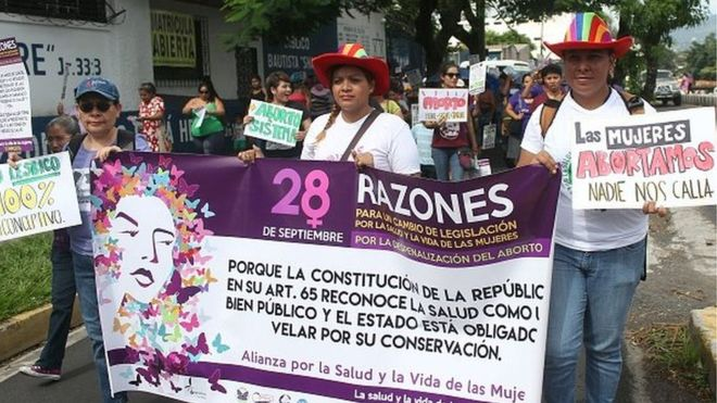 Salvadorans marching in demand to change the abortion law. AFP copywrite