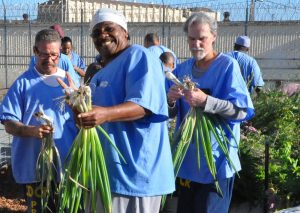Inmates hold up freshly harvested vegetables in San Quentin.