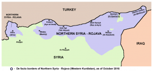 Territory held by Rojava in October 2016 (Source: Wikimedia Commons)