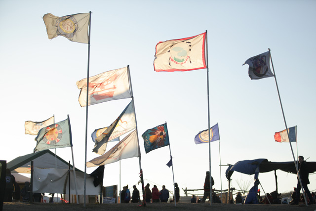 Flags of Standing Rock, photo by Jake Ratner