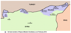 Territory held by Rojava in February 2014 (Source: Wikimedia Commons)
