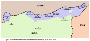 Territory held by Rojava in June 2015 (Source: Wikimedia Commons)