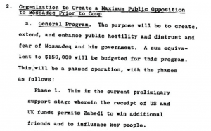 Donald Wilber's Draft of the coup against Mossadegh, also known as Operation Ajax. C.I.A. Document, Appendix B, page 15. (Source)