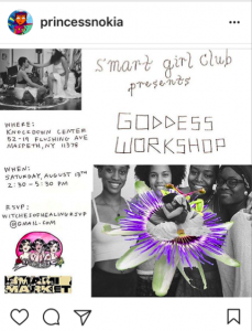 Smart Girl Club workshop advertisement. credit: princessnokia instagram