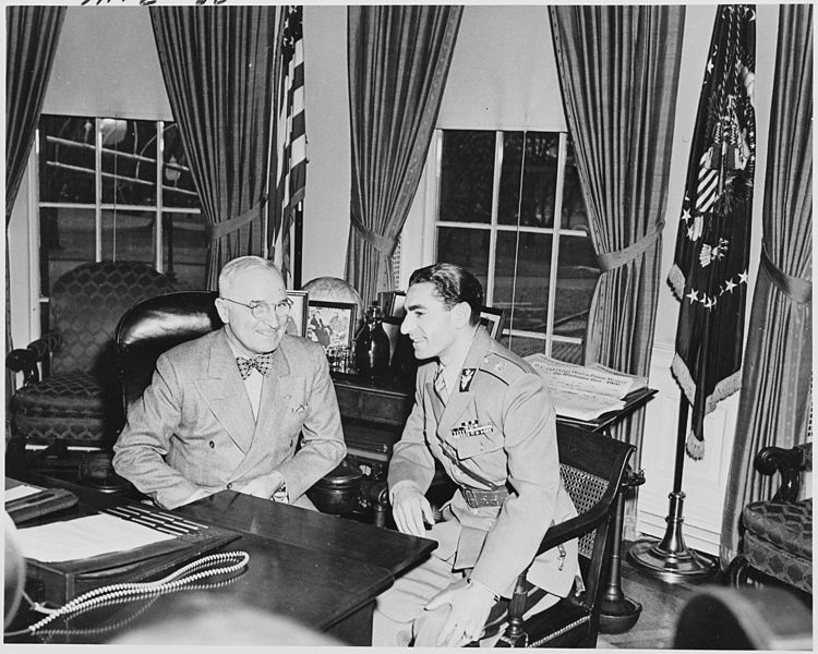 Photograph of President Truman and the Shah of Iran in the Oval Office. (Credit: Abbie Rowe; National Archives and Records Administration)