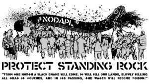 A graphic created by an anonymous Mardi Gras crew for their march against DAPL (Credit: Guise of Fawkes)