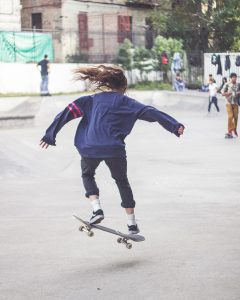 Arianna Gil skateboarding, 2014. credit: Browntourage