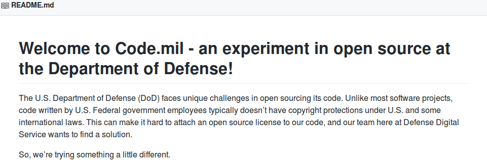 An excerpt from the Dept. of Defense page of Github, a popular code sharing website