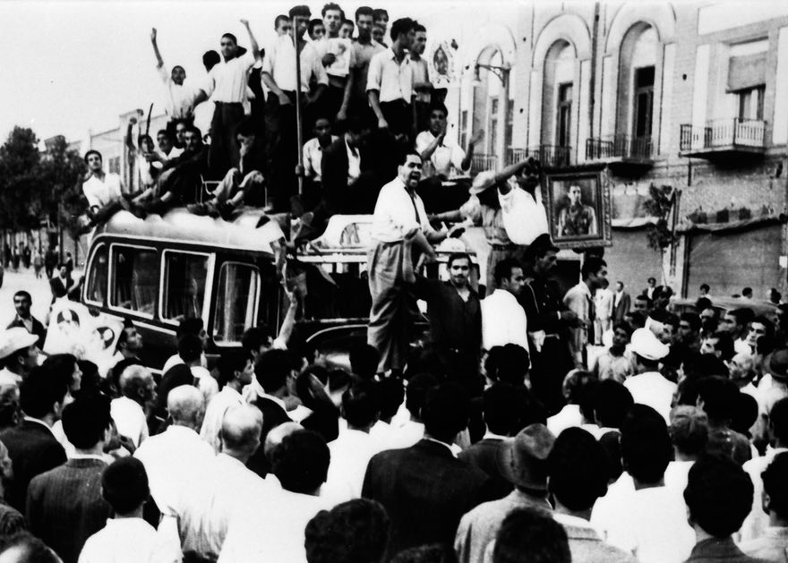 August 19th of 1953, Pro-Shah demonstrators take the streets. (Source)
