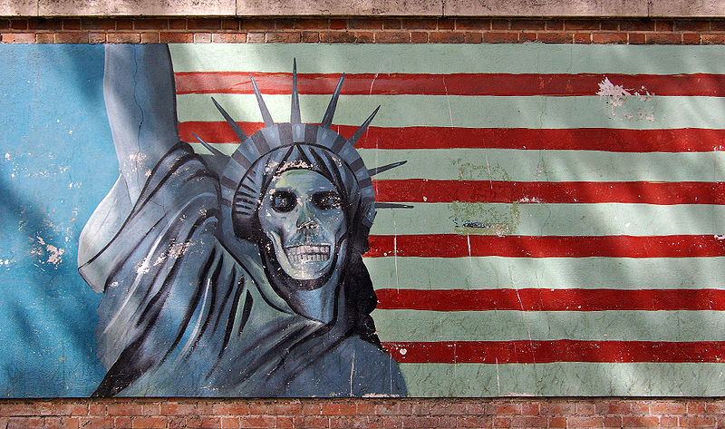Mural on the former American Embassy in Iran. (Credit: Phillip Maiwald)