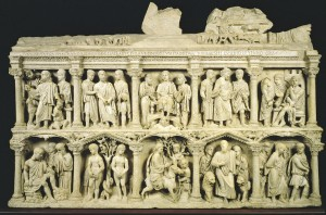 Sarcophagus of Junius Bassus, c.359.  Early Christian Art showing Christ as young man and scenes from Old Testament.