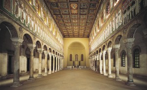 Sant'Apollinaire Nuovo, interior showing nave, side aisles and apse. 6th c. Basilica-style Christian church.