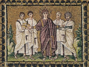 Miracle of loaves and fishes, mosaic from Sant'Apollinare Nuovo, Ravenna. c.520.