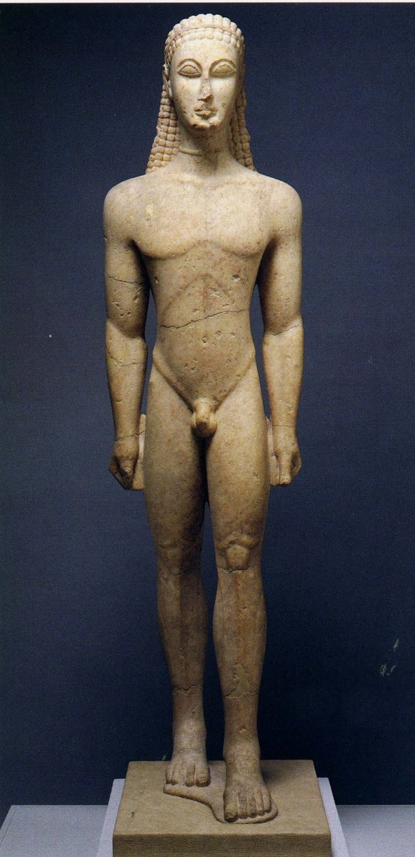 a comparison of the egyptian figure torso of a general and the greek marble statue of kouros