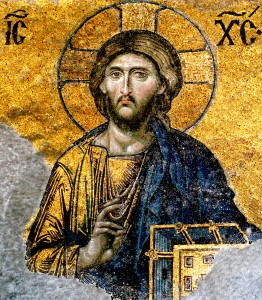 Jesus Christ Pantocrator (Ruler of the Universe) Mosaic from the Deesis Panel of the South Gallery of the Hagia Sophia (1185-1204). Byzantine Art.
