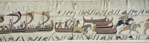 Bayeux Tapestry, scenes of Normans Landing in England. 1080 CE. Medieval secular art.