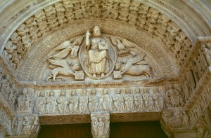 St. Trophime, Christ in Majesty with symbols of Evangelists. 1180. Romanesque architecture.