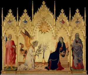 Simone Martini, Annunciation, 1333. Sienese painter in Byzantine style.