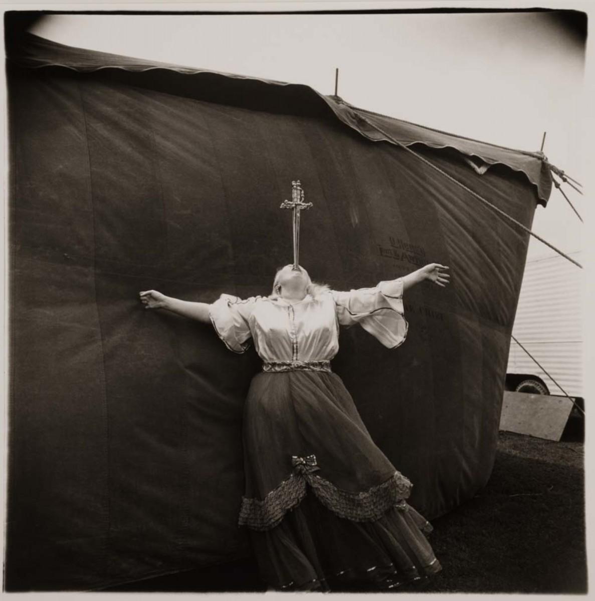 Diane Arbus, Albino Sword Swallower at a Carnival, MD. 1970