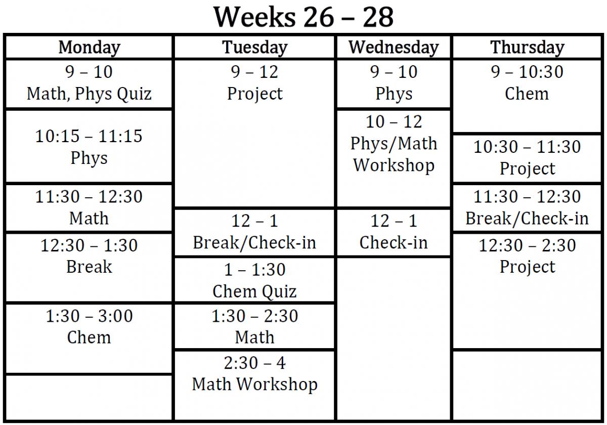 Spring Schedule Weeks 26 28