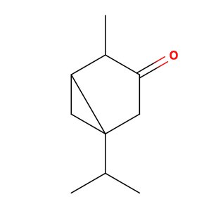 Thujone chemical drawing, 2-dimensional drawing.
